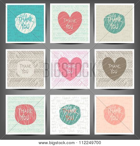 Thank You Hand Draw Card. Vector Illustration, 10 Eps. Set