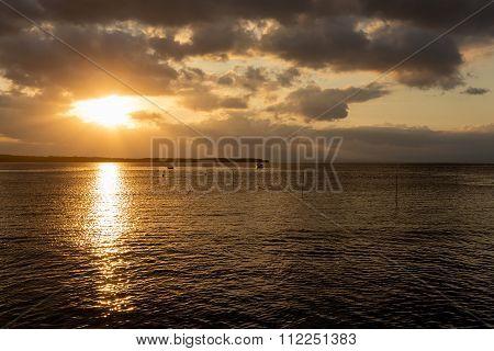 Nusa Penida, Bali Beach With Dramatic Sky And Sunset