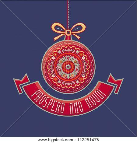Portugal Christmas card. Prospero Ano Novo