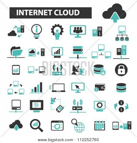 internet cloud icon, clouding, web, computer network, connection, hosting, database, pc  icons, signs vector concept set