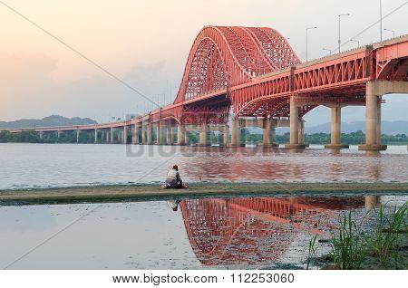Han River With Banghwa Bridge In Seoul, Korea