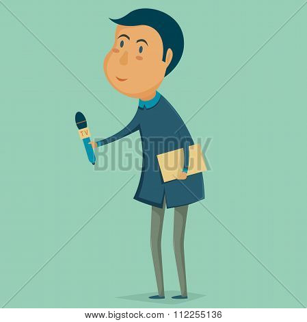 Journalist news reporter interview holding microphones Vector cartoon illustration