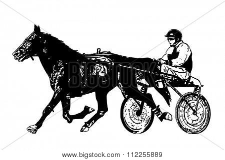 harness racing illustration - vector