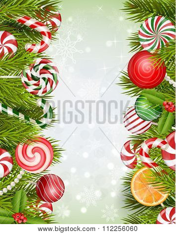 Sweets background with lollipop, candy, jelly beans, orange slice and pine tree