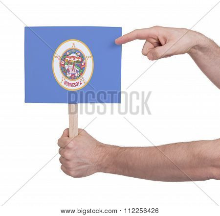 Hand Holding Small Card - Flag Of Minnesota