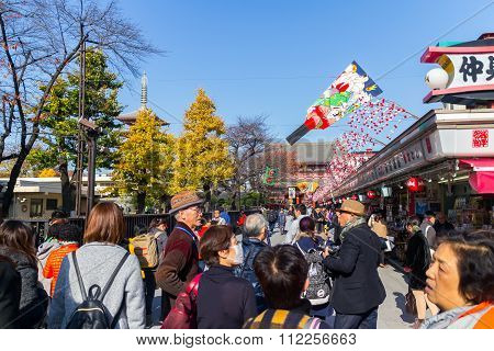 Many People shopping street in Asakusa area neary Senso-ji Temple