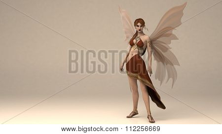 young woman posing in studio as a fairy