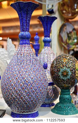Mina Minakari Handicraft made in Esfahan Naqshe Jahan Square Iran