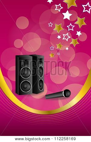Background abstract pink karaoke microphone loudspeaker star yellow frame vertical gold ribbon