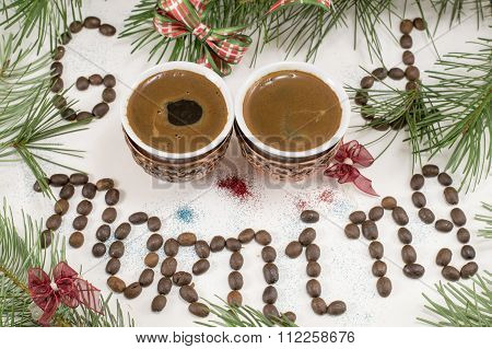 Two Cups Of Coffee And Fir Tree