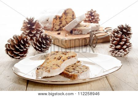 Slice Christmas Stollen On A Plate