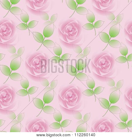 Seamless floral pattern pink roses and green leaves