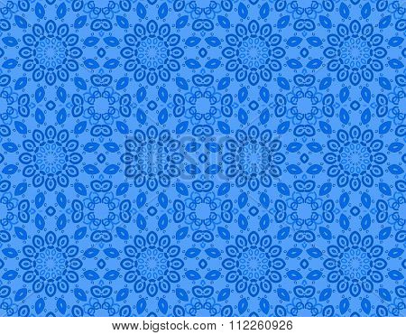 Seamless floral circle pattern blue