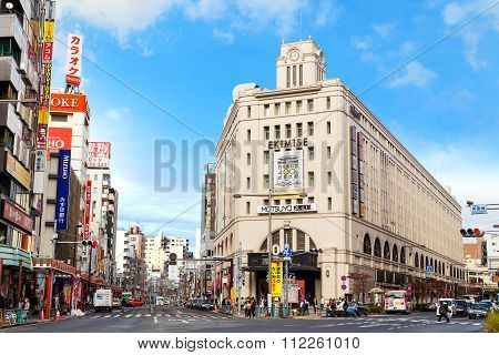TOKYO JAPAN - NOVEMBER 15 2015: Asakusa Station is built in Ekimise building it links Tobu line to Tokyo Skytree the building is also a grand shopping destination in Asakusa - Taito area