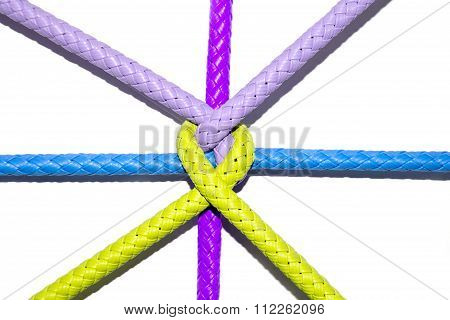 Color Rope Knot On White