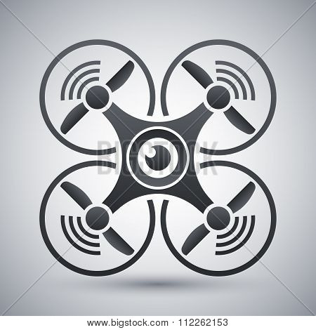 Quadcopter With Camera Icon, Vector