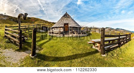 Mountain Cottage Hut Or House On Idyllic Hill Velika Planina.