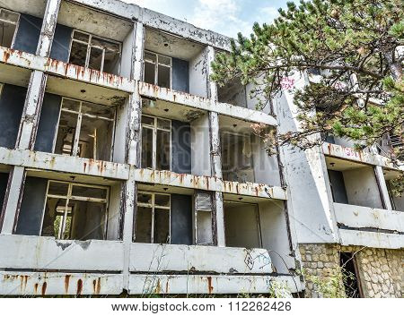 Ruins Of Abandoned Hotel Building
