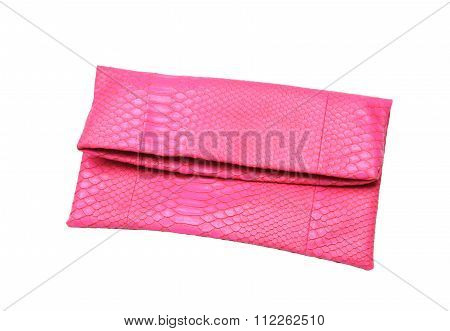 Pink Ladies Bag On A White Background.