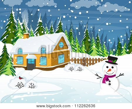 Snow-covered Country House