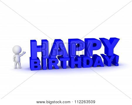 3D Character Showing Large Text With Happy Birthday