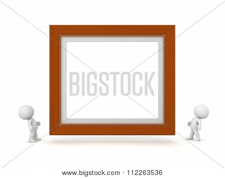 Two 3D Characters Looking Up At Large Decorated Diploma Frame