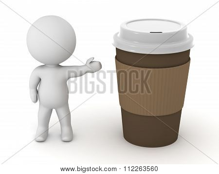 3D Character Showing Coffee Cup