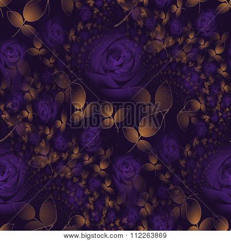 Seamless floral patttern purple roses with golden leaves