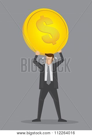 Businessman And Heavy Overhead Costs Vector Illustration