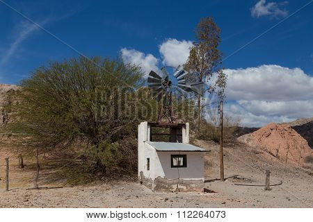 Small windmill on route 40 in Northwest Argentina.