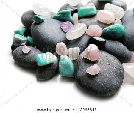 Semiprecious stones isolated on white