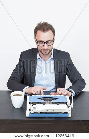 Writer typing