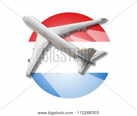 Plane and Luxembourg flag.