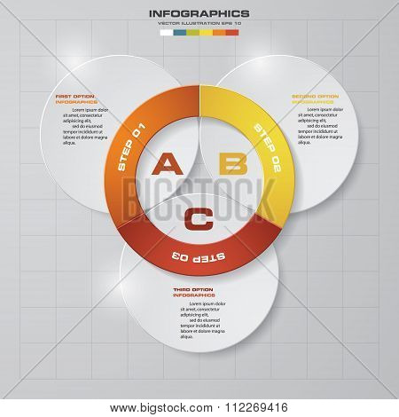 abstract 3 steps template with free space for your sample text&data.