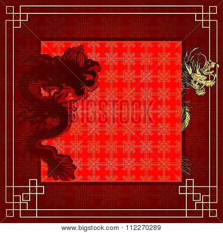 Frame Red Dragon Gold-colored Sticker 7