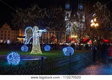 PRAGUE, CZECH REPUBLIC - DECEMBER, 25: Holiday lights at Old Town or Staromestska square in  Prague,