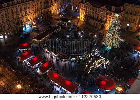 PRAGUE, CZECH REPUBLIC - DECEMBER, 25: View over Old Town or Staromestska square in  Prague, Czech R