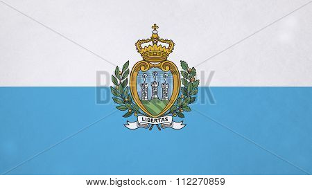 Flag of San Marino painted on paper texture