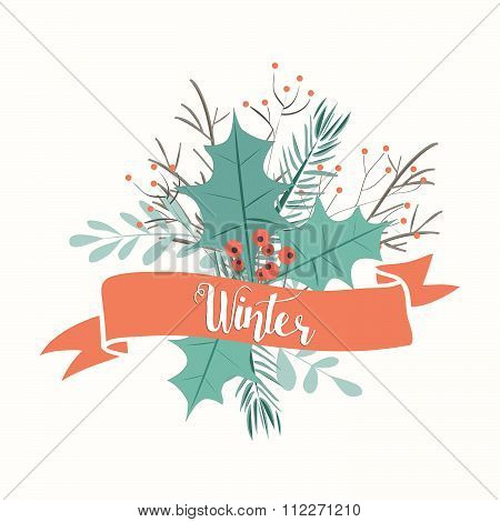 Beautiful Hand Drawn Winter Leaves Greeting
