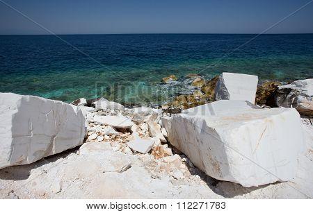 Marble Stone On The Sea Coast