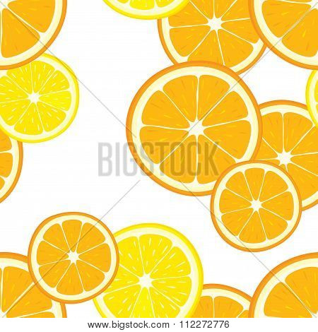 Vector seamless background with orange and lemon slices