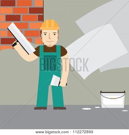 Plasterer At Work. Vector.
