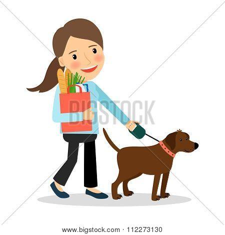 Woman with dog and bag of food