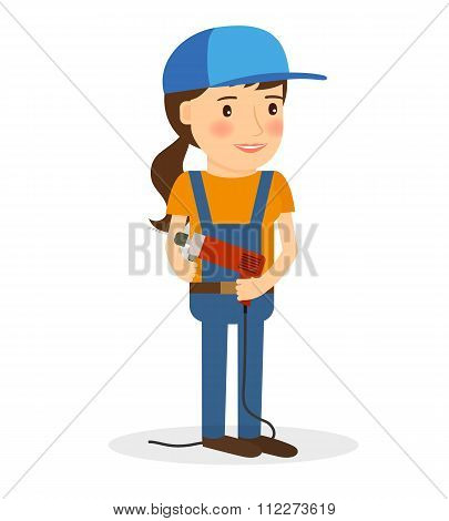 Young woman in coverall with screwdriver