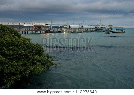 Puerto Ayora, Ecuador - November 16, 2015: View Of The Port On 1