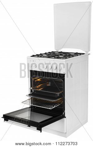 White Gas Stove Isolated On A White Background