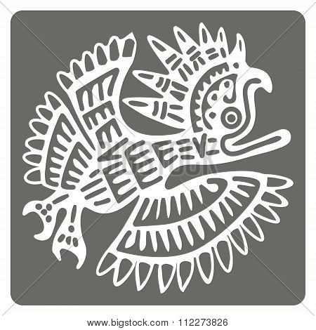 monochrome icon with American Indians art and ethnic ornaments