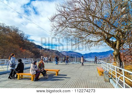 NIKKO JAPAN - NOVEMBER 16 2015: Akechi-daira Viewpoint is the best viewpoint of the great and wonderful nature of Nikko. It's on the way to Chuzen-ji Lake from downtown Nikko