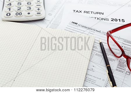 Tax Return Form 2015 With Notebook