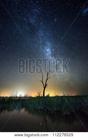 Stars shine over Lake Bonney in South Australia